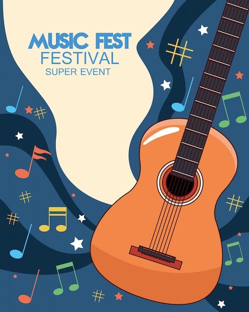 Music fest poster with acoustic guitar  illustration Premium Vector