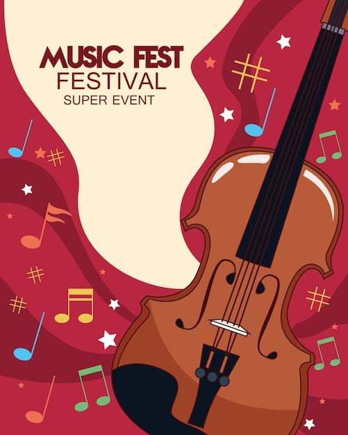 바이올린 일러스트와 함께 음악 축제 포스터 프리미엄 벡터