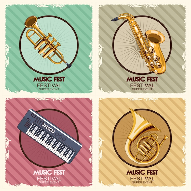 Music fest poster with instruments  illustration Premium Vector