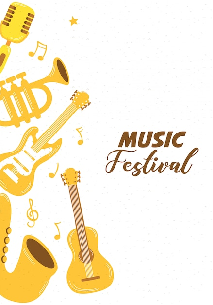 Music fest poster with instruments Premium Vector
