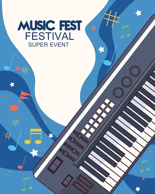 Music fest poster with piano  illustration Premium Vector