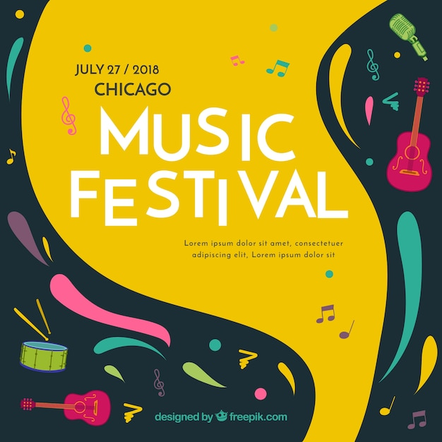 Music festival background in flat style Free Vector