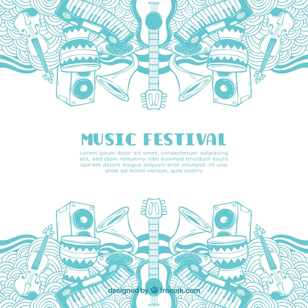 Music festival background with different instruments Free Vector