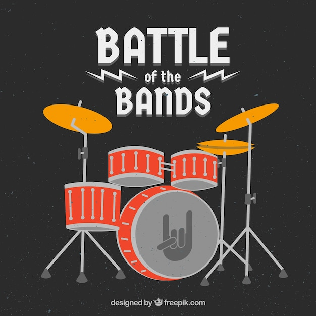 Music festival background with drums in flat style Vector