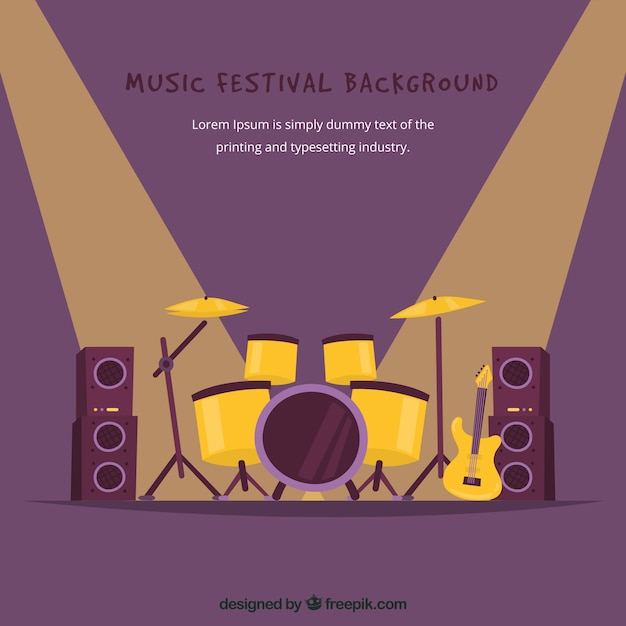 Music festival background with drums on stage Free Vector