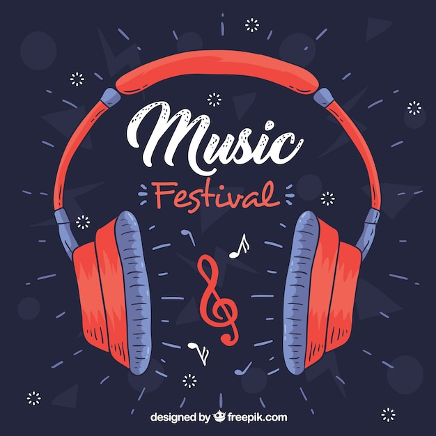 Music festival background with headphones Free Vector