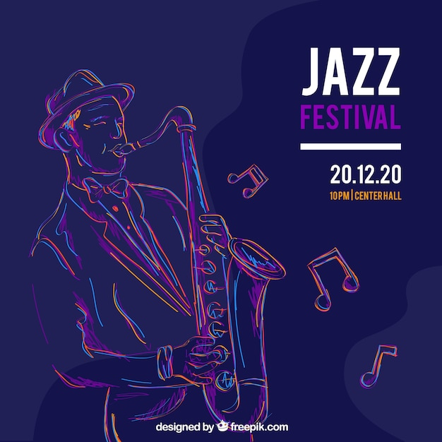Music festival background with musician playing saxophone Free Vector