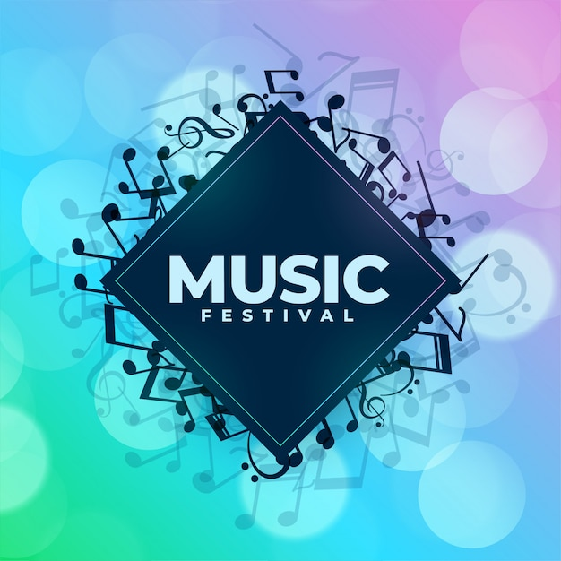 Music festival background with notes frame Free Vector