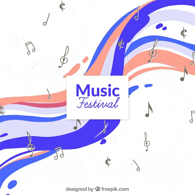 Music festival background with notes in hand drawn style Free Vector