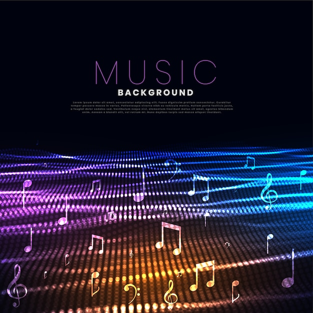 Music festival background with particle wave effect Free Vector