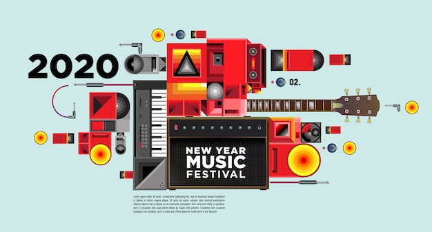 Music festival banner for 2020 new year party and event Premium Vector