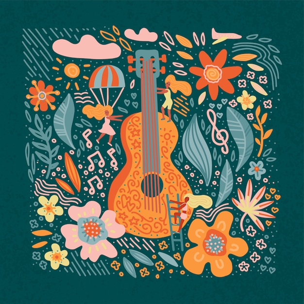Music festival banner guitar with flowers and girls. Premium Vector