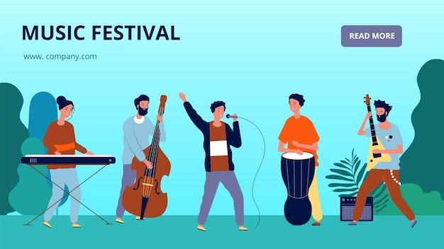 음악 축제 배너. 음악가와 악기, 오케스트라. 사운드 페스트 방문 페이지. 프리미엄 벡터