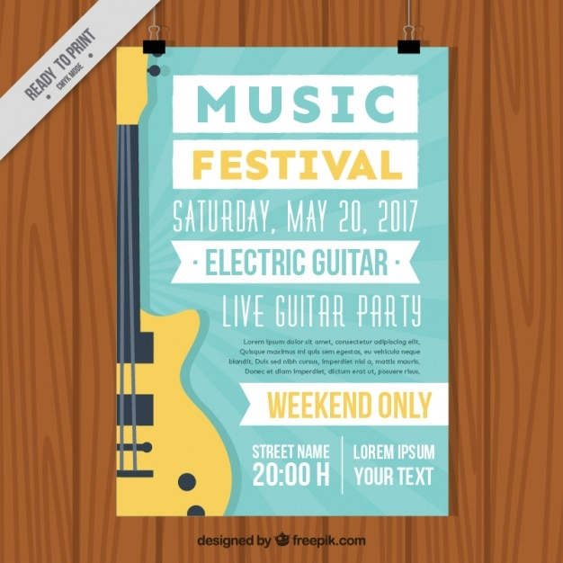 Music Festival Brochure With Electric Guitar Vector  Premium Download