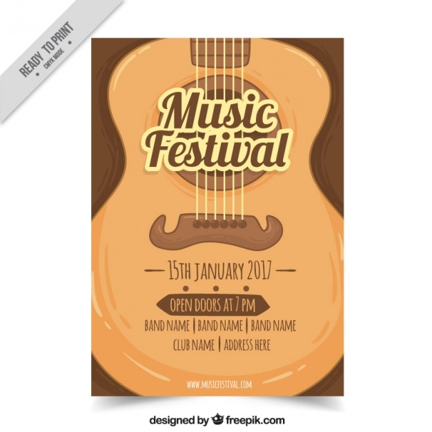 Music Festival Brochure With Guitar Vector  Free Download