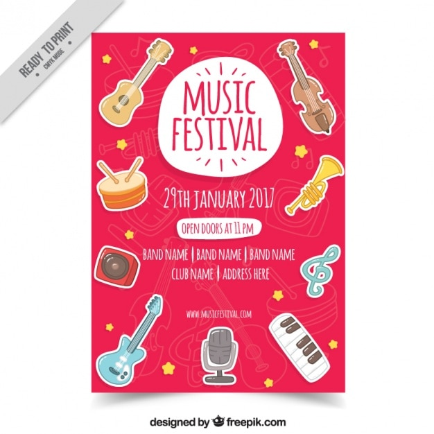 Music Festival Brochure With Hand Drawn Instruments Vector  Free