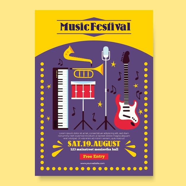 音楽祭のコンセプト 無料ベクター