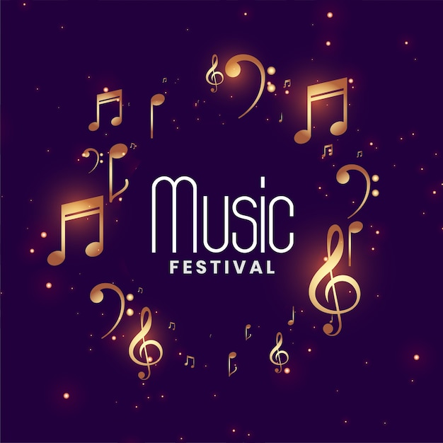 Music festival concert background with golden musical notes Free Vector