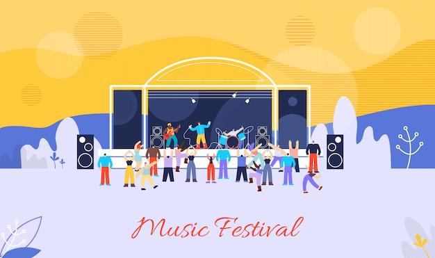 Music festival flat vector advertising banner Premium Vector