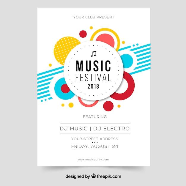 Music festival flyer in flat design Free Vector