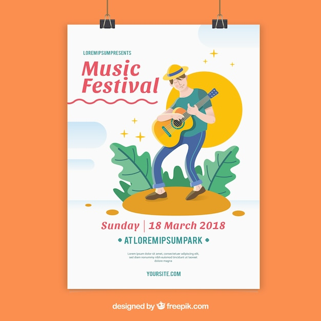 Music festival flyer template with man playing guitar Free Vector