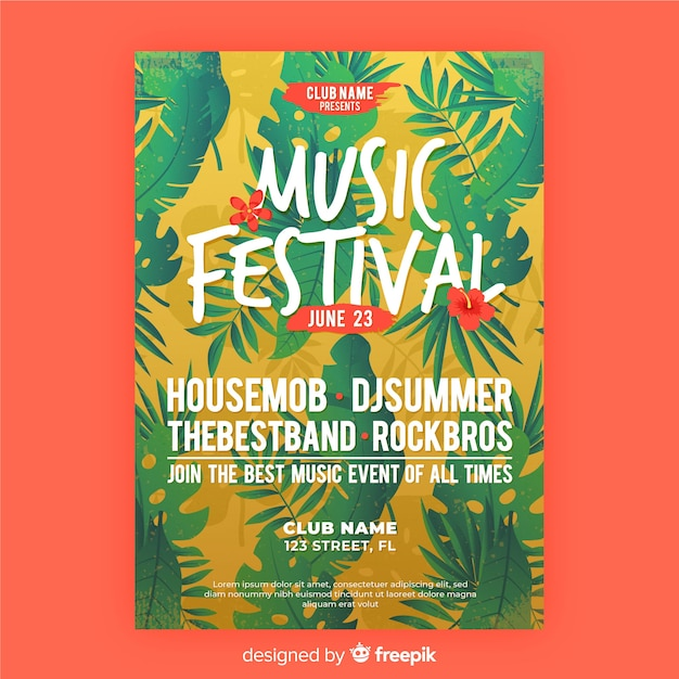 Music festival flyer template Free Vector