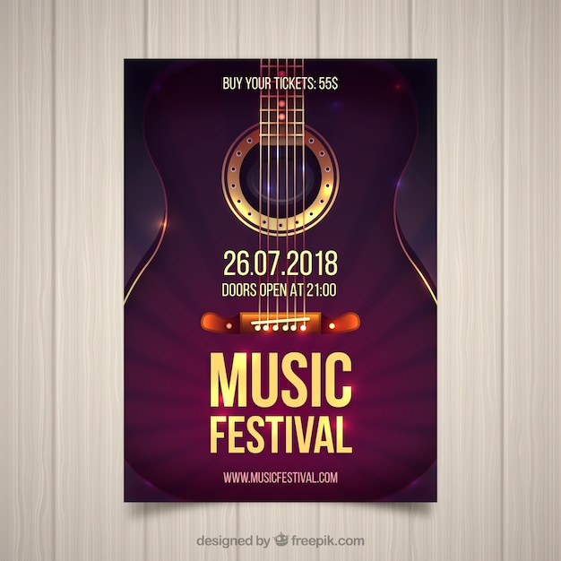 Music festival flyer with guitar in realistic style Free Vector