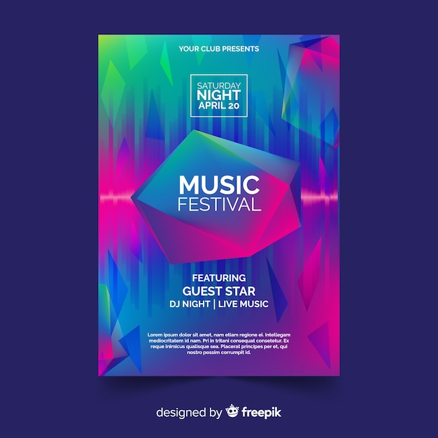 Music festival flyer Free Vector