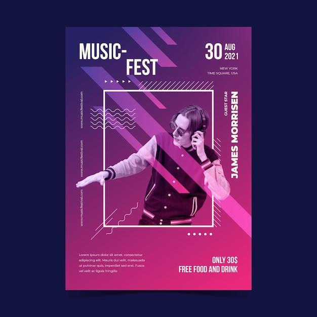 Музыкальный фестиваль иллюстрированный плакат с изображением Бесплатные векторы