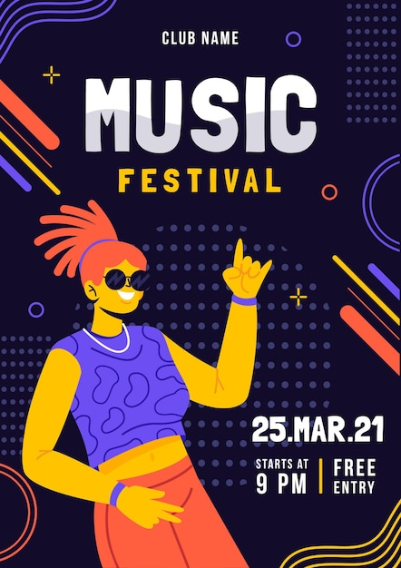 Music festival illustrated poster Free Vector