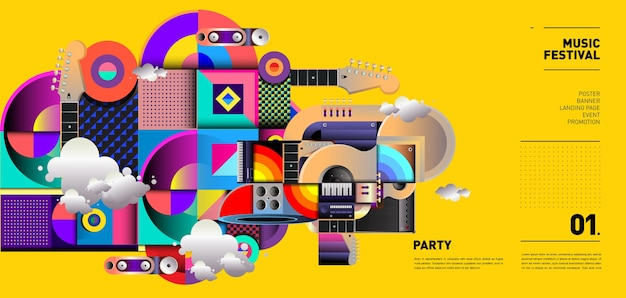 Music festival illustration design for party and event Premium Vector