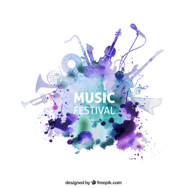 Music festival in watercolor style Premium Vector
