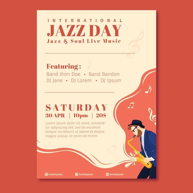 Music festival and international jazz poster Premium Vector