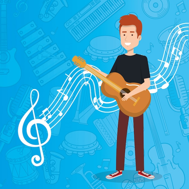 Music festival live with man playing acoustic guitar Free Vector