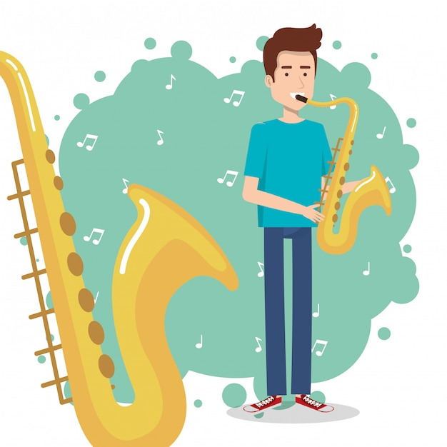 Music festival live with man playing saxophone Free Vector