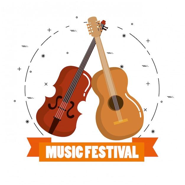 ヴァイオリンとアコースティックの音楽祭り 無料ベクター