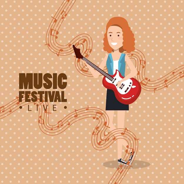 Music festival live with woman playing electric guitar Free Vector