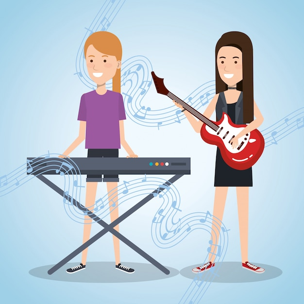 Music festival live with women playing piano and guitar Free Vector