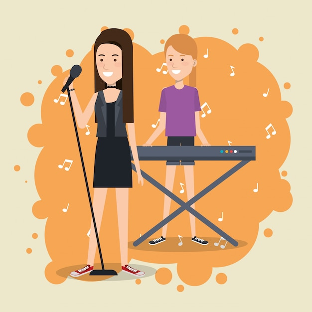 Music festival live with women playing piano and sing Free Vector