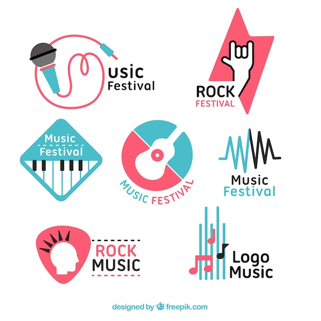 평면 디자인의 음악 축제 로고 컬렉션 무료 벡터