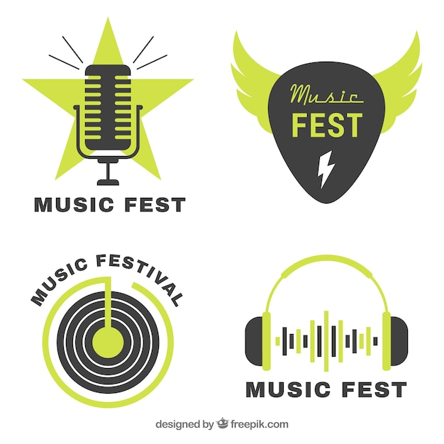 Music festival logo collection with flat design Free Vector