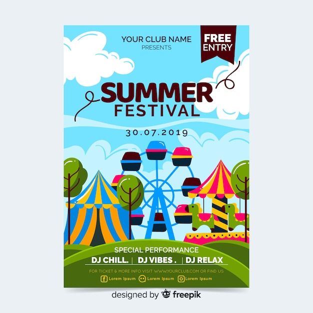 Music festival party poster or flyer template Free Vector