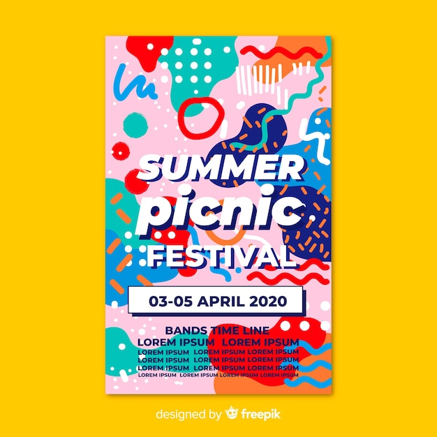 Free Vector Music Festival Party Poster Or Flyer Template