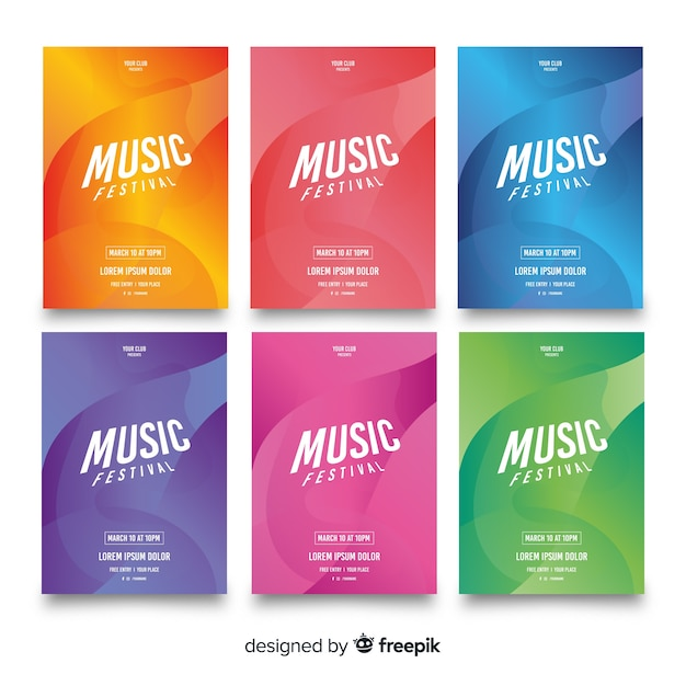 Music festival poster collection Free Vector