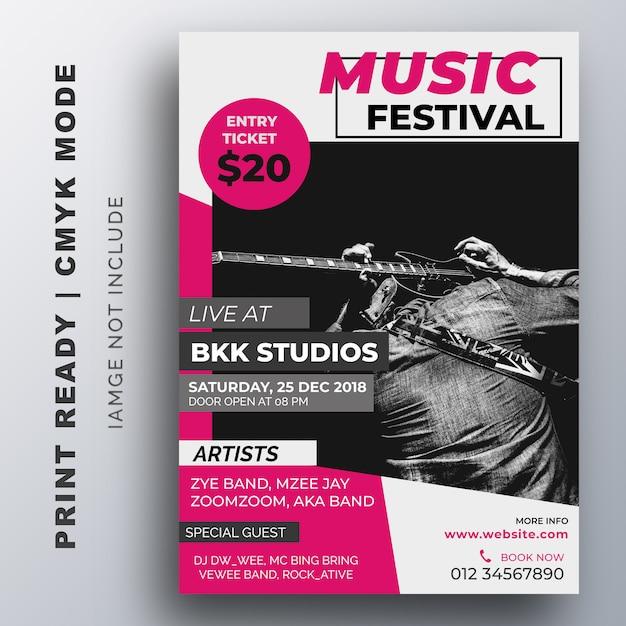 Music festival poster. flyer template Premium Vector