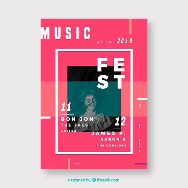 Music festival poster in flat style Free Vector