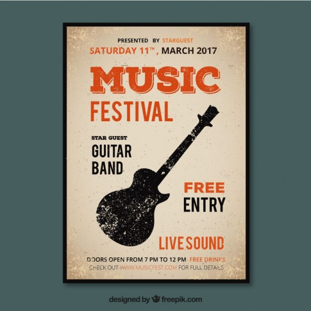 Music Festival Poster In Vintage Style Vector Free Download