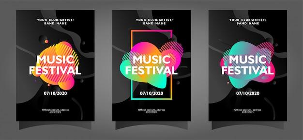 Музыкальный фестиваль шаблон коллекции плакатов с абстрактными формами Premium векторы