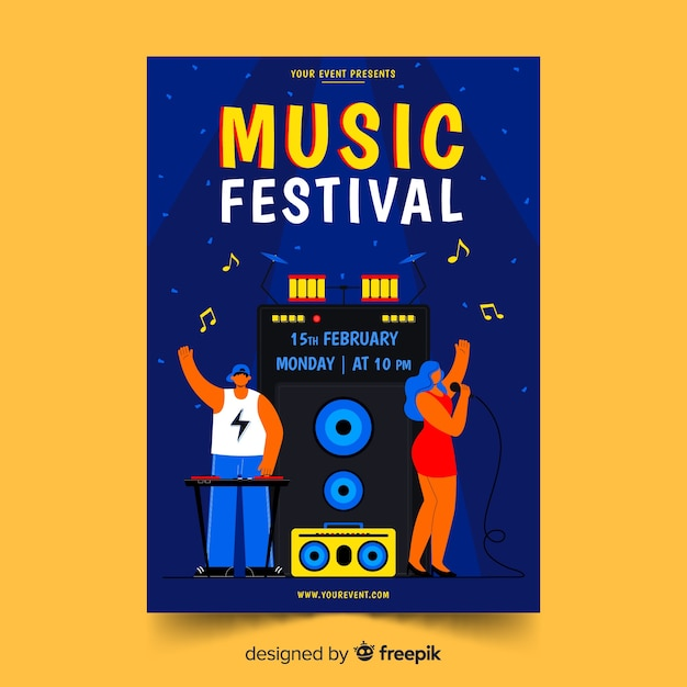 Music festival poster template illustration Free Vector