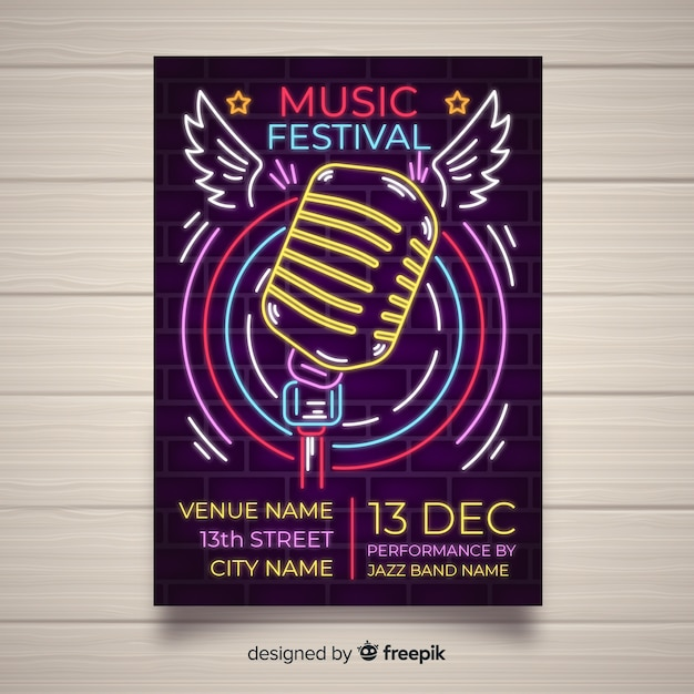 Music festival poster template neon lights style Free Vector